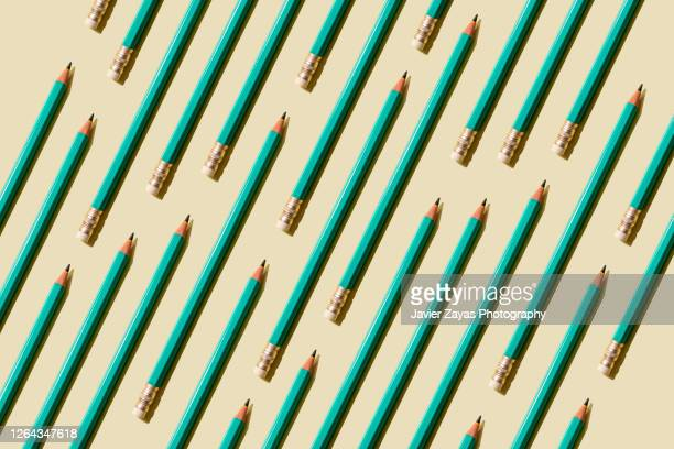 many pencils on a pastel background - education stock pictures, royalty-free photos & images