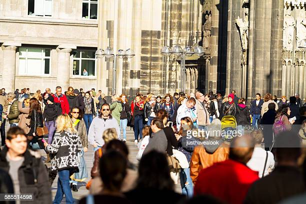 Many people and tourists at Cologne cathedral