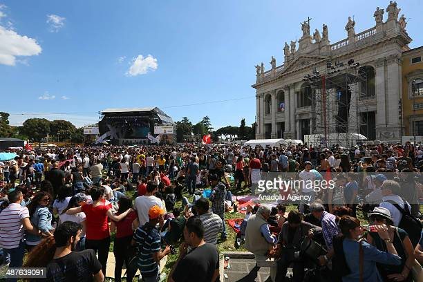 Many people celebrate the International Workers' Day at the San Giovanni Square Workers' Day in Rome Italy on May 1 2014