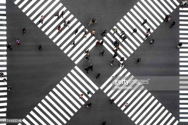 many people crossing in ginza pedestrian crosswalks, one of the busiest crosswalks in tokyo and in the world at japan. - road junction stock pictures, royalty-free photos & images