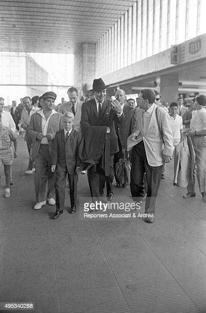 Many people following American actor Clark Gable arriving at Termini railway station for the presentation of the film It Started in Naples Rome 9th...