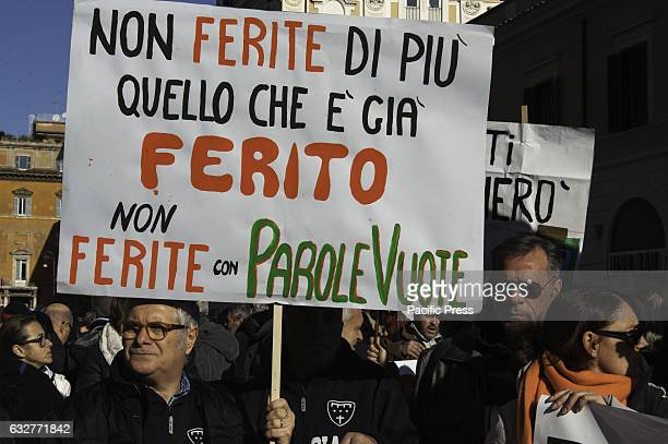 Many people from the earthquake areas of central Italy protested in Rome in Piazza Santi Apostoli against delays in the reconstruction of the...