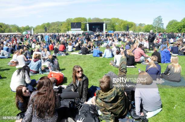 Many people gather to celebrate the International Workers' Day in capital Copenhagen Denmark on May 1 2014