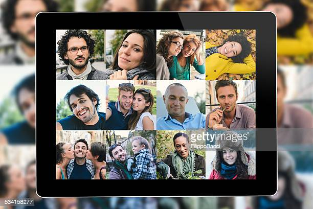 many people portrait on a tablet screen - large group of people stock pictures, royalty-free photos & images