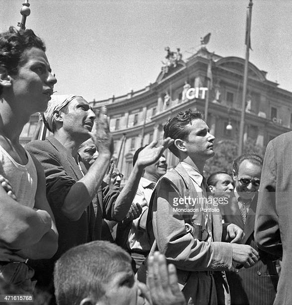 'Many people protesting after Italian politician and General Secretary of Italian Communist Party Palmiro Togliatti was shot Rome 15th July 1948 '