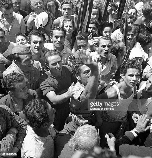 Many people protesting after Italian politician and General Secretary of Italian Communist Party Palmiro Togliatti was shot Rome 15th July 1948