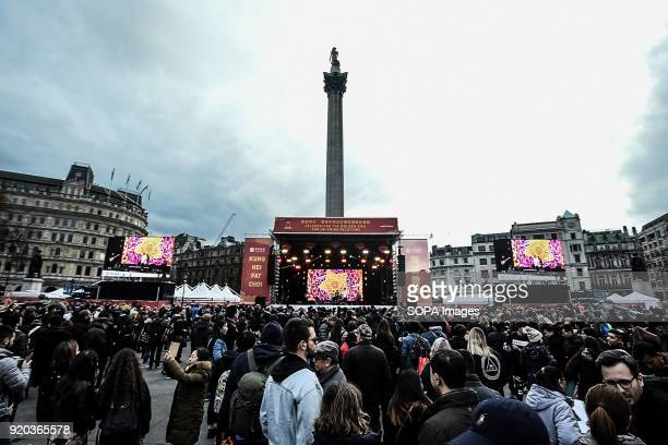 Many people seen celebrating Chinese new year in Trafalgar square Londoners gather in London's chinatown and trafalgar square to celebrate Chinese...