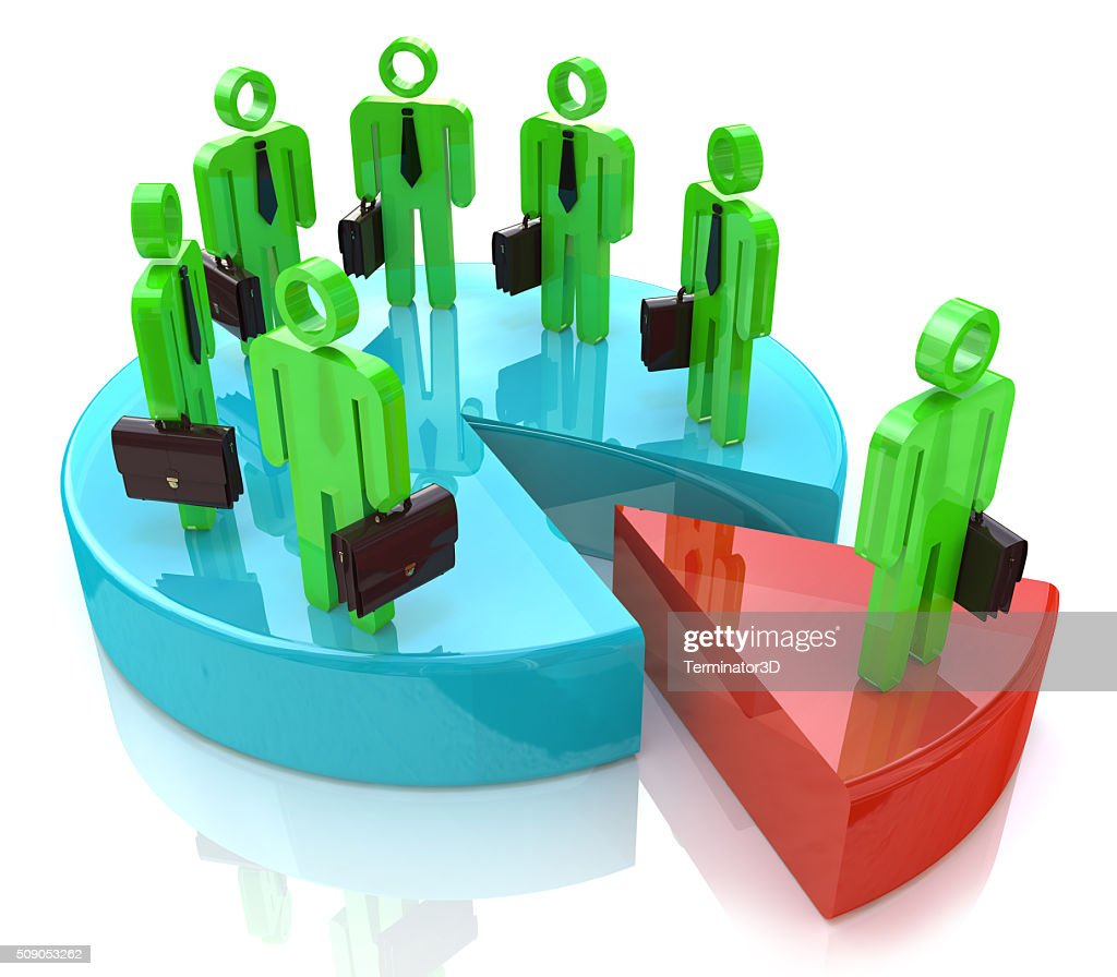 Many people standing on pie chart conceptual 3d illustration