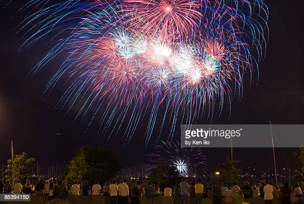 many people watching fireworks on the lakefront - ken ilio stock pictures, royalty-free photos & images
