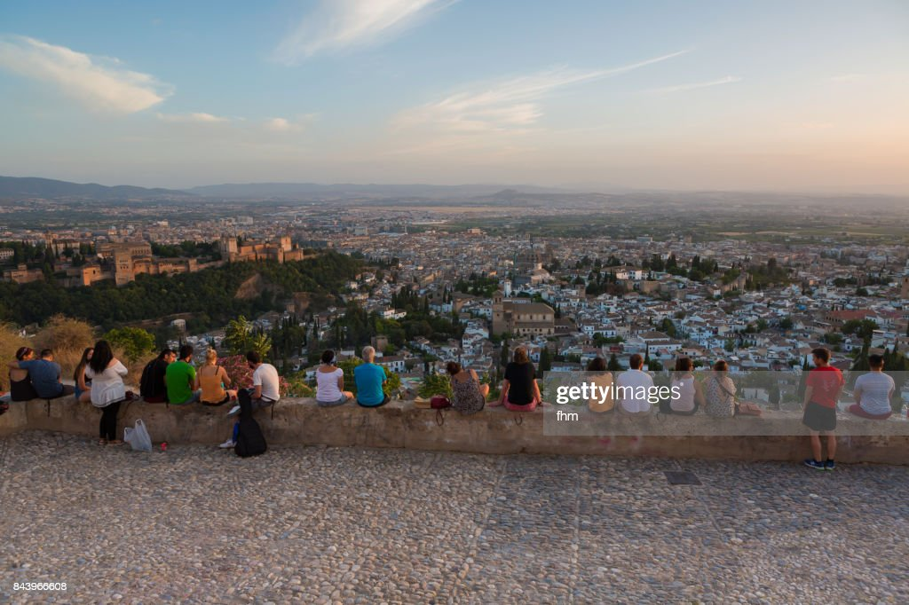Many people watching the sunset in Granada (Alhambra) - Andalusia/ Spain : Foto de stock