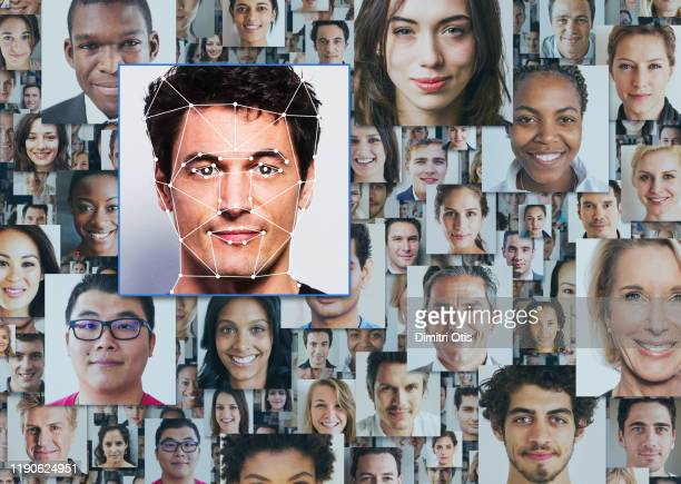 many portraits of diverse people, one standing out from the crowd - facial recognition technology stock pictures, royalty-free photos & images