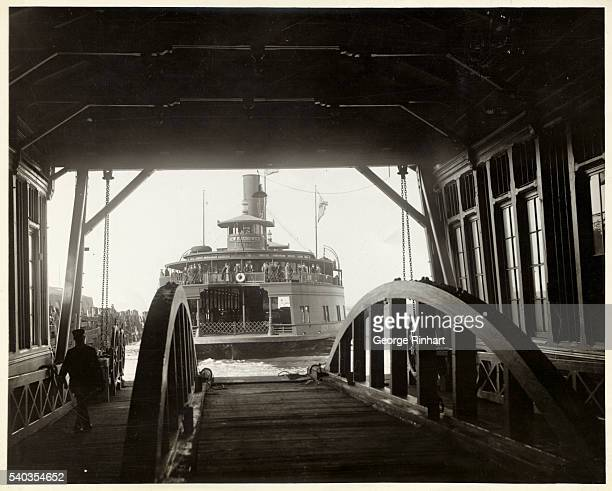 Many prominent city officials took part in the inauguration of the new vehicular ferry service of the Penn RR Co between Atlantic Avenue Brooklyn and...