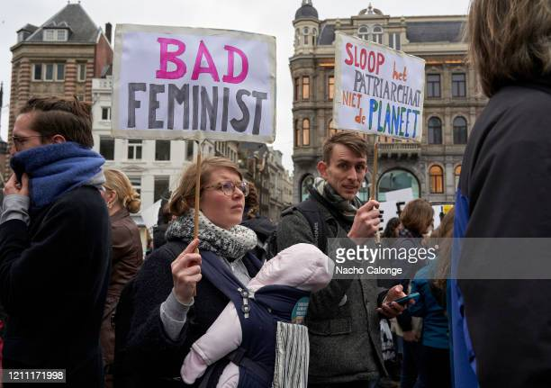 Many protesters attend the protest with placards with slogans for women's rights during the International Women's Day celebration on March 8 2020 in...