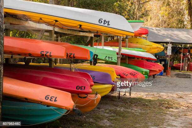 Many Rental Canoes Are Stacked Waiting for Customers Crystal River