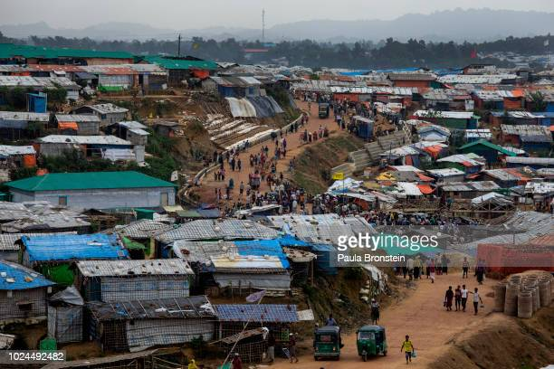 Many Rohingya are seen along the road where a market is in Kutupalong camp August 27 2018 in Kutupalong Cox's Bazar Bangladesh UN investigators said...