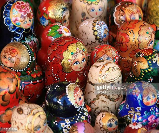 Many Russian Matryoshka Dolls For Sale at the souvenir market