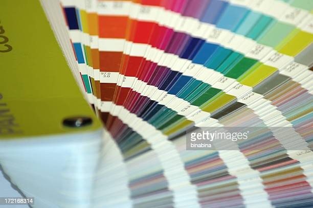 Many shades of paint swatches fanned out