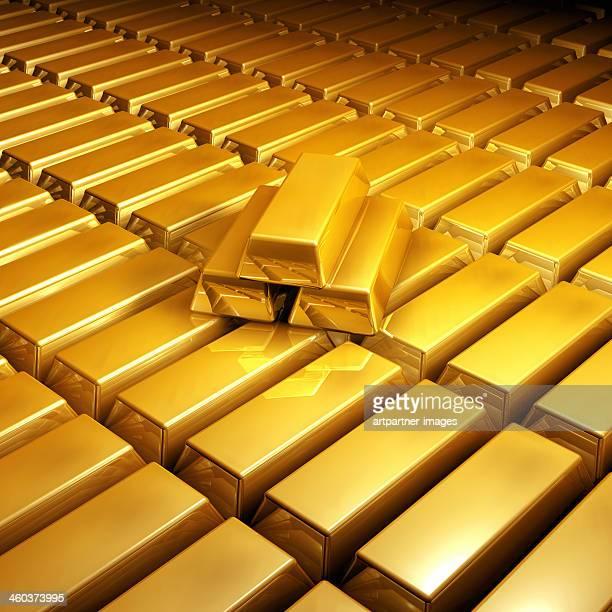 Many shiny gold bars