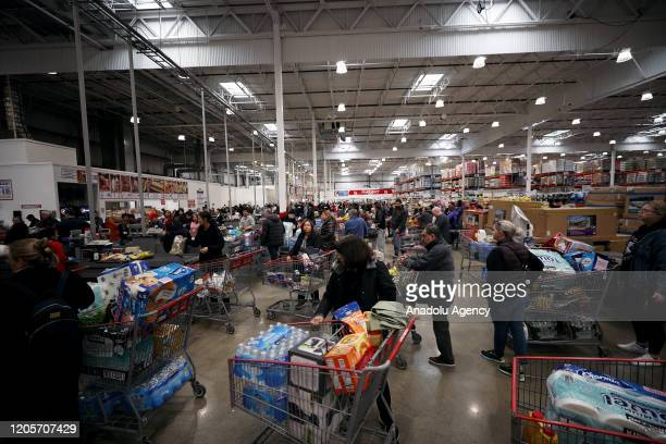 Many shoppers in panic buy supplies as fears over COVID19 grow around the world at Costco Wholesale in New Jersey United States on March 7 2020