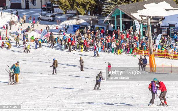 Many skiers take advantage of the good winter sports conditions in the Ore Mountains in Oberwiesental Germany 21 January 2017 Photo Andre...