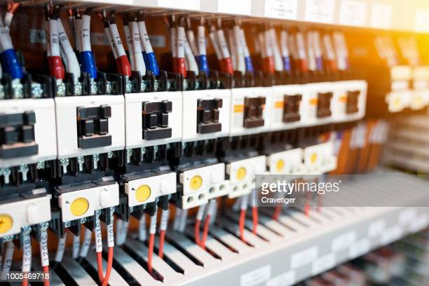 many socket and electrical relay (switch automatic or electromagnet ) for operated electric circuit of machine or industrial
