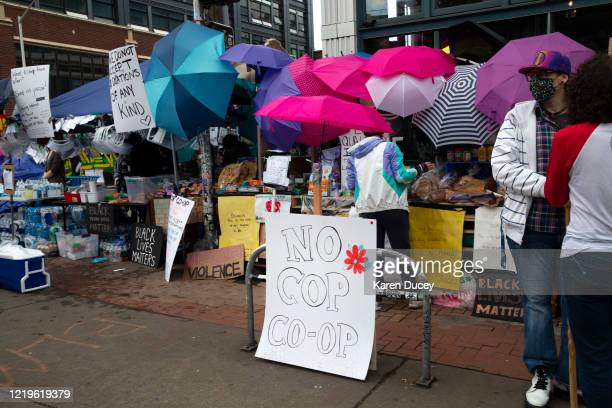 Many stands offering free items have been set up including the No Cop Coop in an area dubbed the Capitol Hill Autonomous Zone on June 12 2020 in...