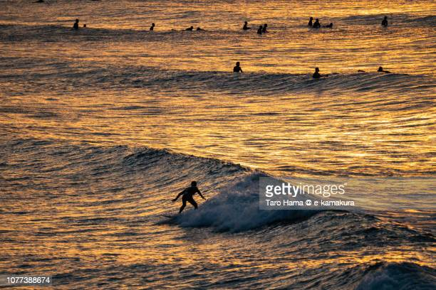 Many surfers enjoying the surf on the morning beach in Kamakura in Kanagawa prefecture in Japan