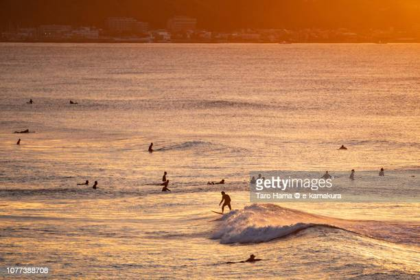 Many surfers enjoying the surf on the orange-colored morning beach in Kamakura in Kanagawa prefecture in Japan