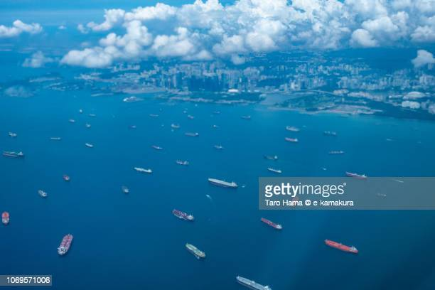 Many tankers on Singapore Straits