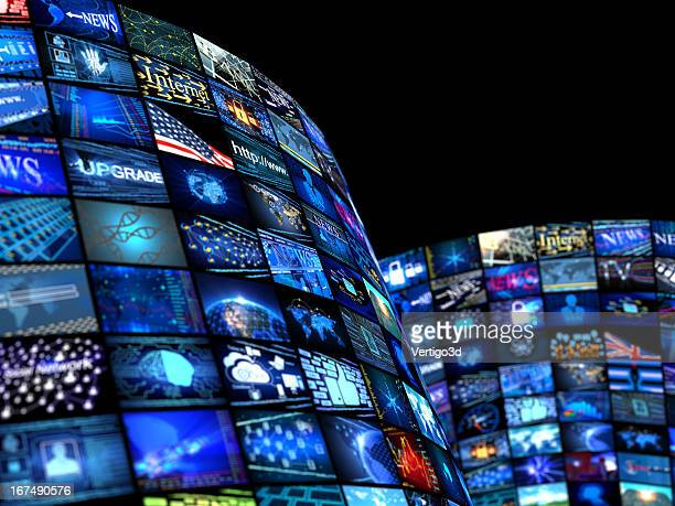 many television screens with media news concept - multimedia stock pictures, royalty-free photos & images