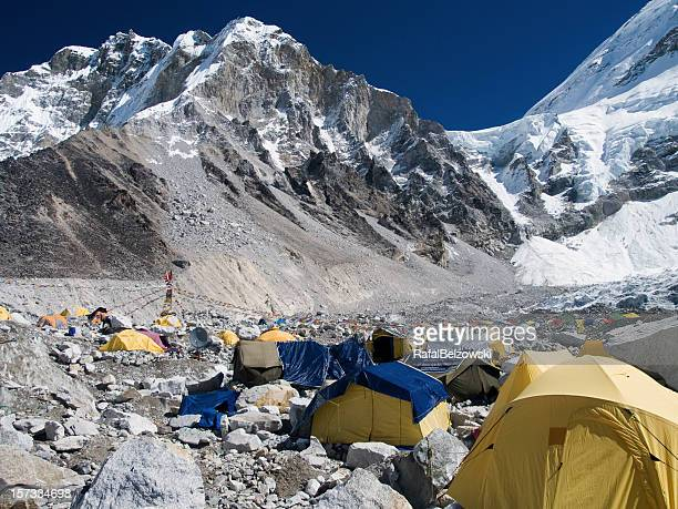 Many tents at the snowy mountain Everest base camp