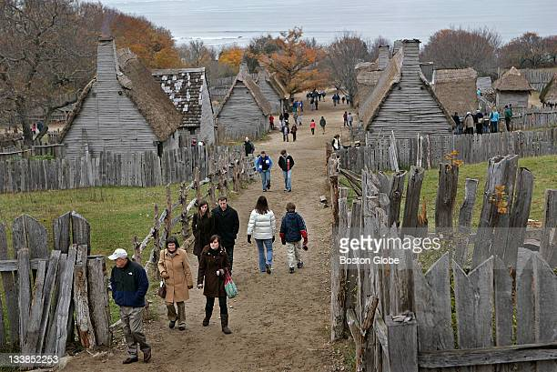 Many tourists visited the 1627 English Village at Plimoth Plantation the day before Thanksgiving