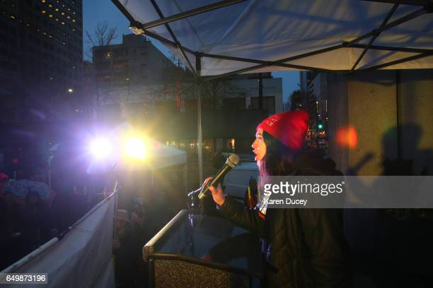 Manya Janowitz from Socialist Students USA speaks a rally at Westlake Center on March 8 2017 in Seattle Washington The rally was cohosted by Seattle...