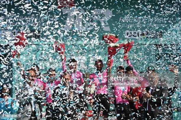 Manzana Postobon Team celebrates on the podium after winning General Classification Team of the 55th Presidential Cycling Tour of Turkey 2019 Sakarya...
