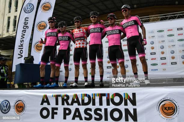 Manzana Postobon Team Columbia pose during Stage 3 of the Le Tour de Langkawi 2018 Kota BharuKuala Terengganu 166 km on March 20 2018 in Langkawi...