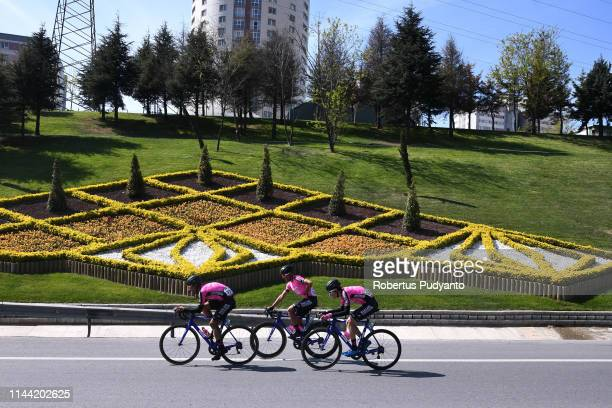 Manzana Postobon Team cyclists compete during Stage 6 of the 55th Presidential Cycling Tour of Turkey 2019 Sakarya to Istanbul on April 21 2019 in...