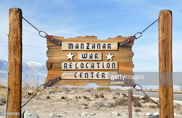 manzanar entrance sign - displaced persons camp stock pictures, royalty-free photos & images