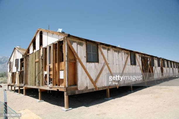 manzanar memorial interment camp near lone pine, ca - concentration camp stock pictures, royalty-free photos & images