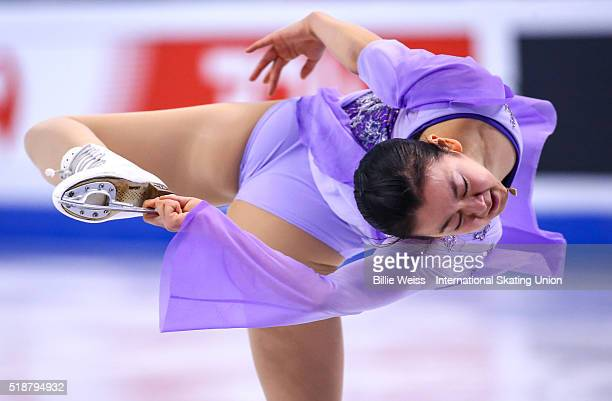 Mao Asada of Japan competes during Day 6 of the ISU World Figure Skating Championships 2016 at TD Garden on April 2 2016 in Boston Massachusetts