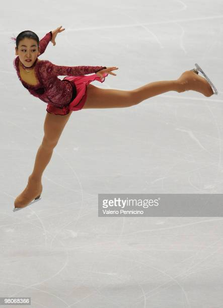 Mao Asada of Japan competes during the Ladies Short Program at the 2010 ISU World Figure Skating Championshipson March 26 2010 in Turin Italy