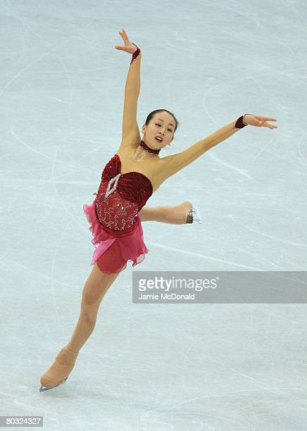 Mao Asada of Japan in action during her Free Skate during the ISU World Figure Skating Championships at the Scandinavium Arena on March 20 2008 in...