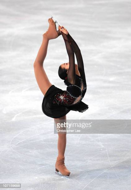 Mao Asada of Japan performs in the Ladies Short Program during the ISU GP Trophee Eric Bompard 2010 at the Palais omnisport de Paris Bercy on...