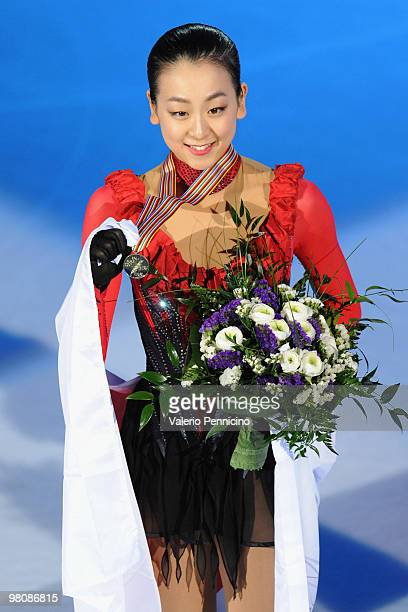 Mao Asada of Japan poses with her gold medal after winning the Ladies Free Skate during the 2010 ISU World Figure Skating Championships on March 27...