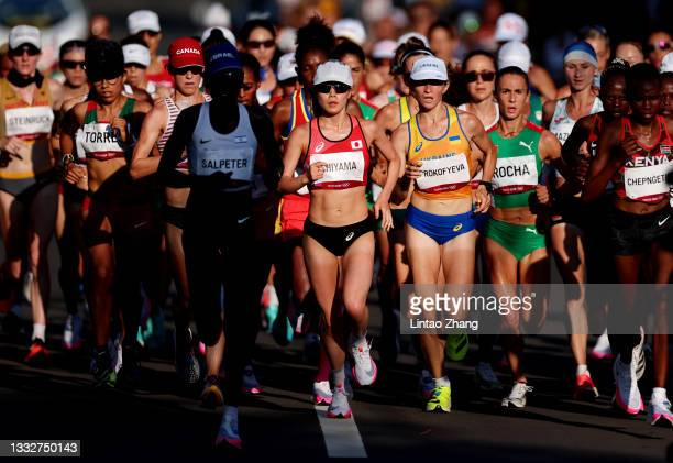 Mao Ichiyama of Team Japan competes in the Women's Marathon Final on day fifteen of the Tokyo 2020 Olympic Games at Sapporo Odori Park on August 07,...