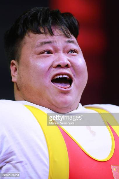 Mao Li of China gestures during the Men's Over to 107 Kg Group A Category as part of the World Para Powerlifting Championship Mexico 2016 at Juan de...
