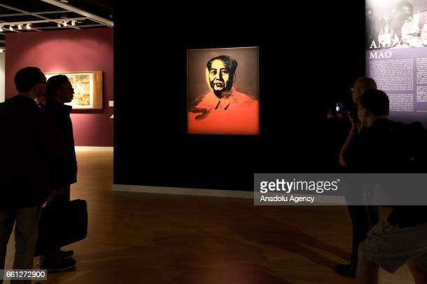 'Mao' modelled on the photograph in Mao's 'Little Red Book' by US artist Andy Warhol is seen during Sotheby's Hong Kong Spring sale preview at the...
