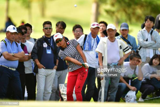 Mao Nozawa of Japan chips onto the 12th green during the final round of the Miyagi TV Cup Dunlop Women's Open at Rufu Golf Club on September 29 2019...