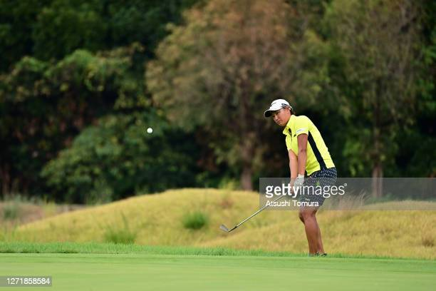 Mao Nozawa of Japan chips onto the 5th green during the second round of the JLPGA Championship Konica Minolta Cup at the JFE Setonaikai Golf Club on...