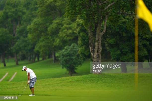 Mao Nozawa of Japan hits an approach on the 5th hole during the third round of the Earth Mondamin Cup at the Camellia Hills Country Club on June 27...