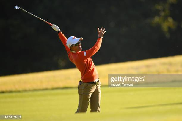 Mao Nozawa of Japan hits her second shot on the 11th hole during the second round of the ItoEn Ladies at Great Island Club on November 16 2019 in...